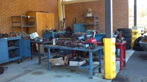 Outside storage is cluttered and unused parts seem to collect in these places.